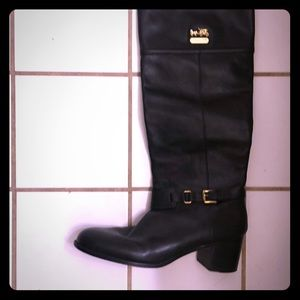 Coach blk boots buckle at ankle 2 in heel Sz 11